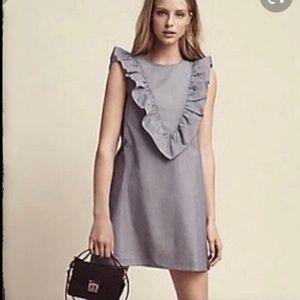 Express Pin Stripe Ruffle Front  Shift Dress Med